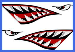 Shark Teeth Mouth Reflective Decals Sticker Fishing Boat Can