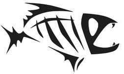 SKELOTON FISH TRIBAL VINYL STICKER DECAL FISHING BOAT TRUCK