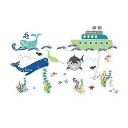 decalmile Under The Sea Wall Stickers Shark Boat Adventures