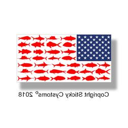 USA American Fish Flag Sticker Fishing Boat Boating Cooler T