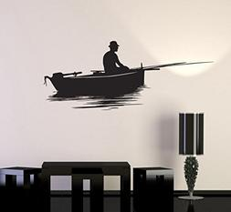 Vinyl Decal Wall Sticker Fish Relaxing Lake Fishing Garage M