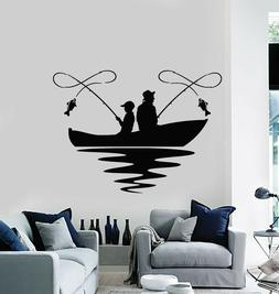 Vinyl Wall Decal Fishing Lake Boat Hobby Fish Club Relax Sti
