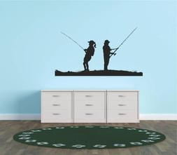 Decal – Vinyl Wall Sticker : Fishing Pole Fish Fishermen F