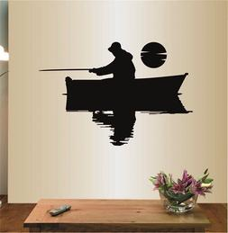 Wall Vinyl Decal Home Decor Art Sticker Fishermen in a Boat