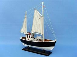 "Wooden Fully Assembled Model Fishing Boat. 14"" tall.  Nice d"